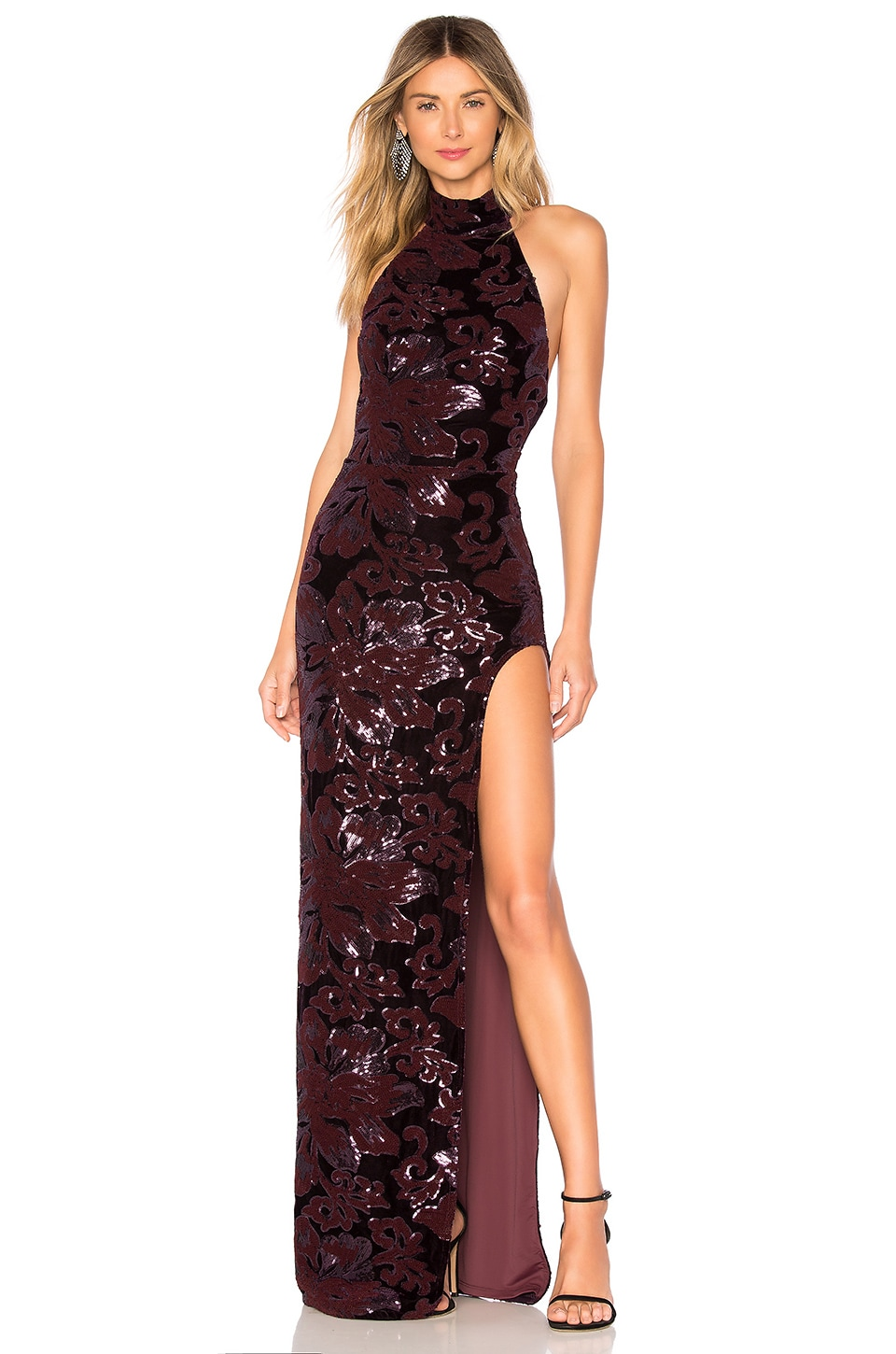 Michael Costello x REVOLVE Penelope Gown in Purple Floral