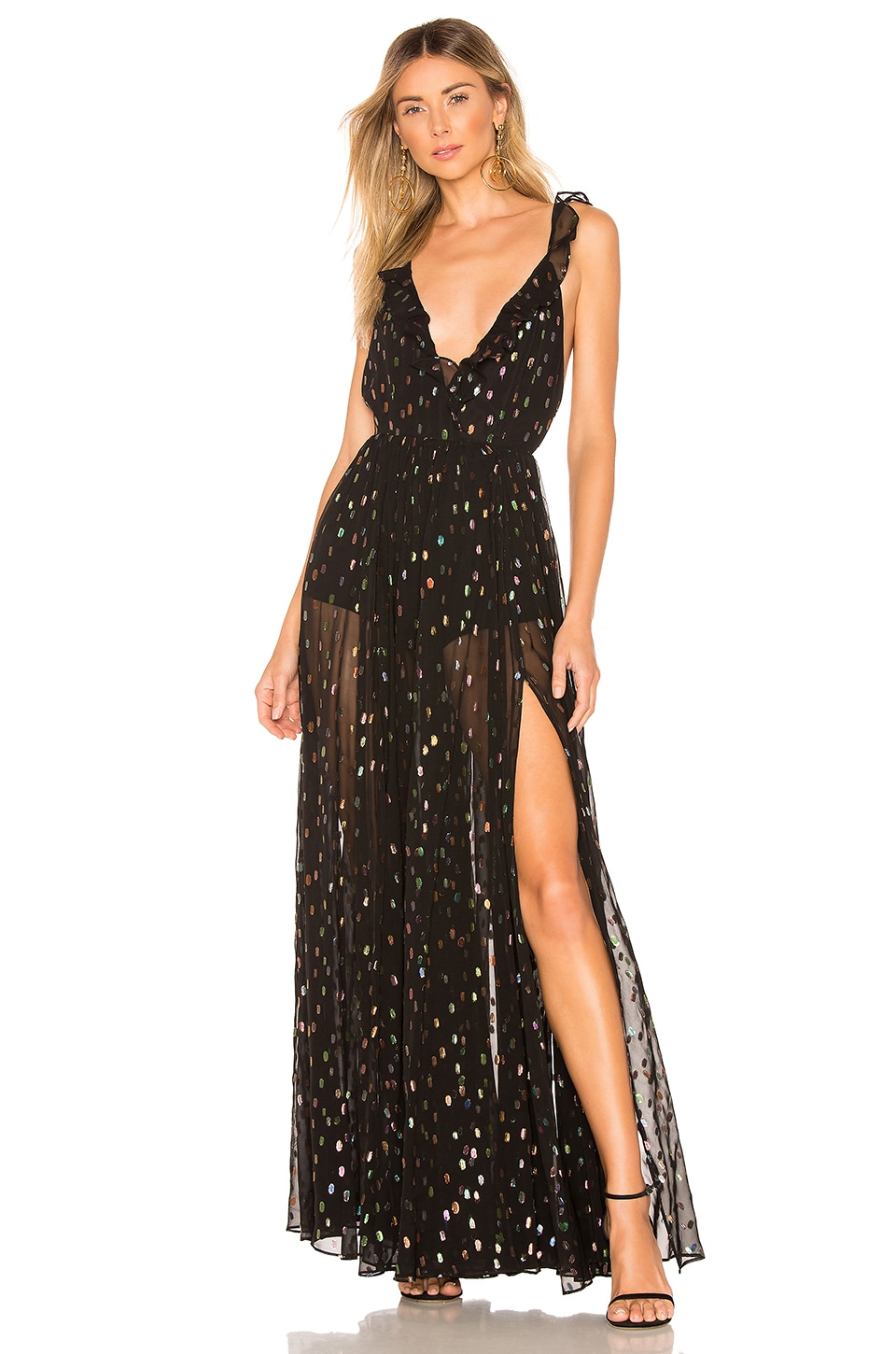 Michael Costello x REVOLVE Natalie Dress in Rainbow Dot