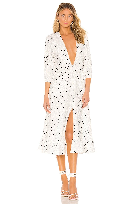 Michael Costello x REVOLVE Candice Dress in White & Black Dot