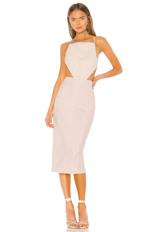 Michael Costello x REVOLVE Celeste Dress in Orange Stripe