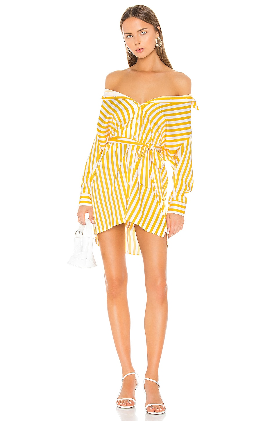 Michael Costello x REVOLVE Robbie Shirt Dress in Yellow Stripe