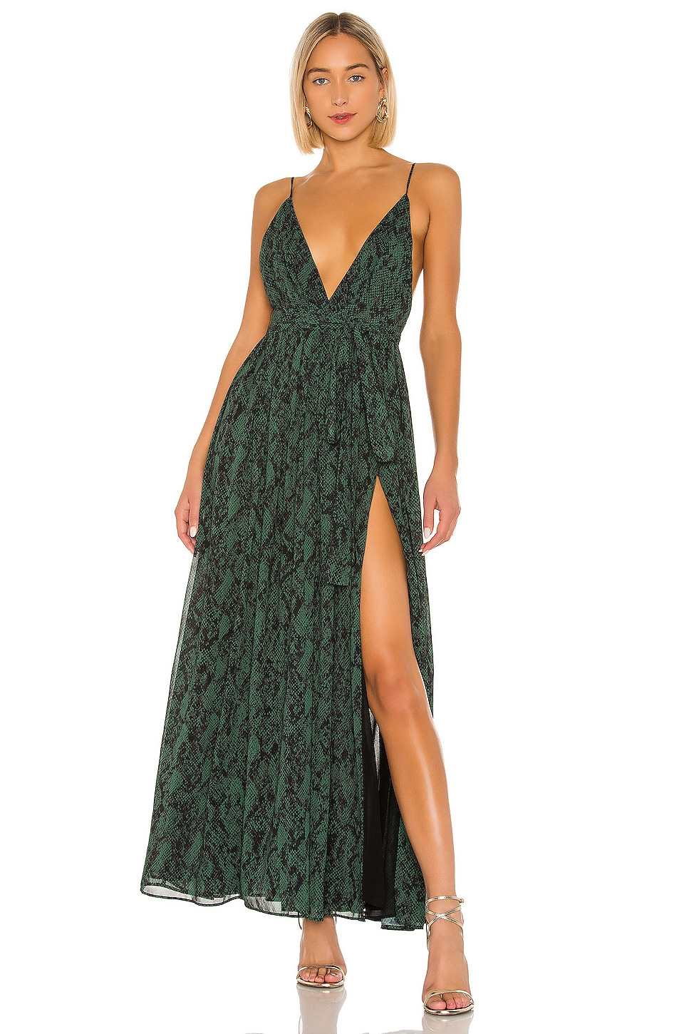 Michael Costello x REVOLVE Gillian Gown in Green Snake