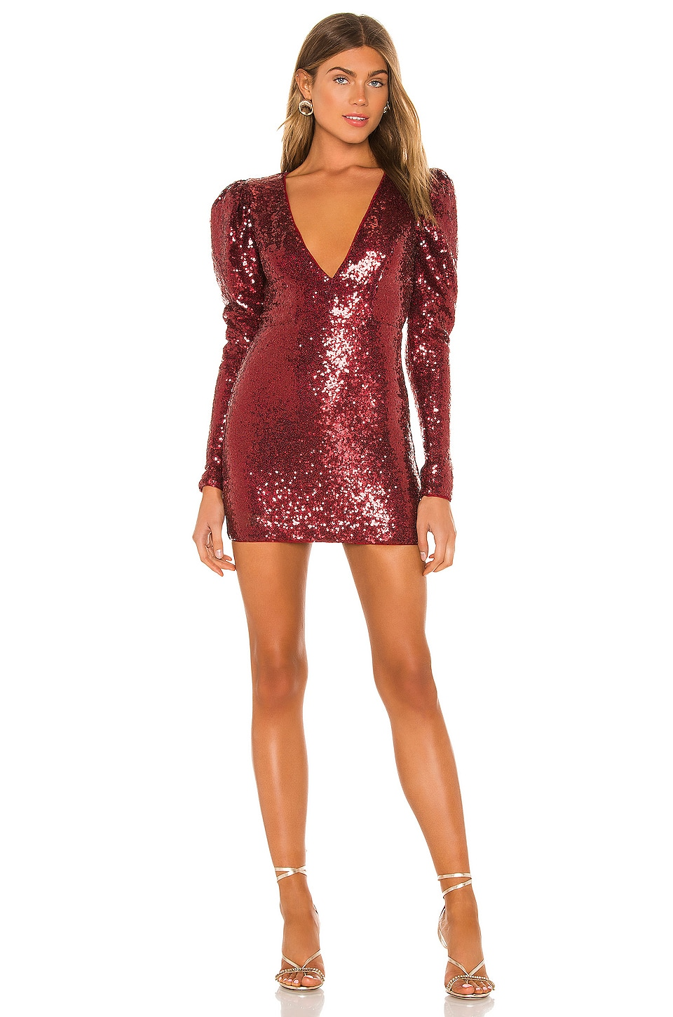 Michael Costello x REVOLVE Harry Mini Dress in Maroon