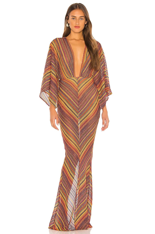 Michael Costello x REVOLVE Serinda Maxi Dress in Sunset Stripe