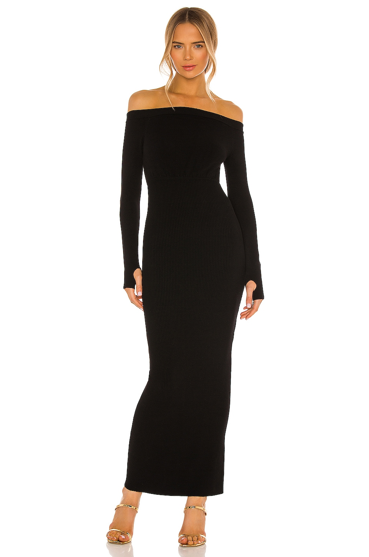 Michael Costello x REVOLVE Off Shoulder Bodycon Maxi Dress in Black