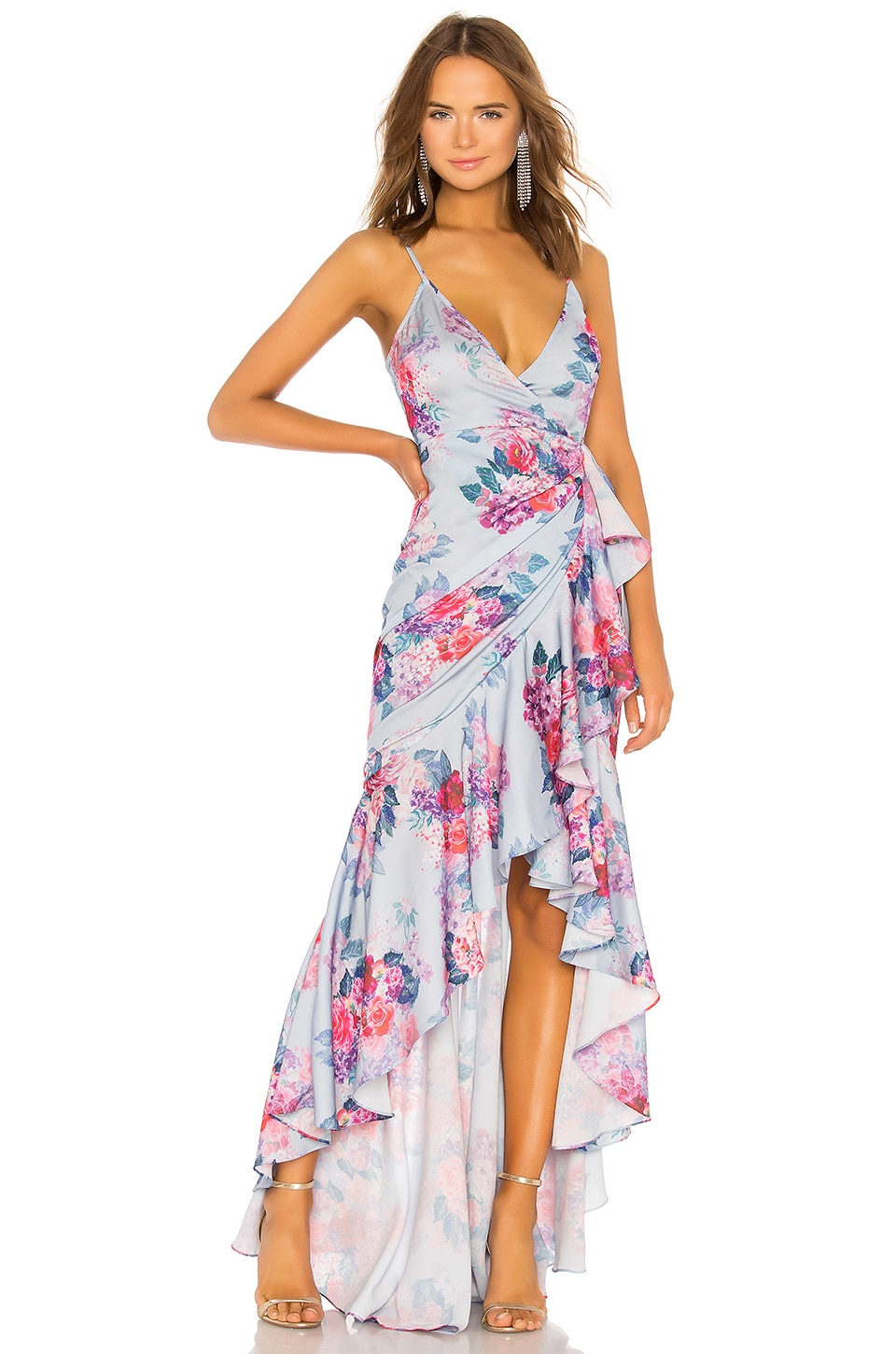Michael Costello x REVOLVE Ateinne Dress in Pale Blue Floral