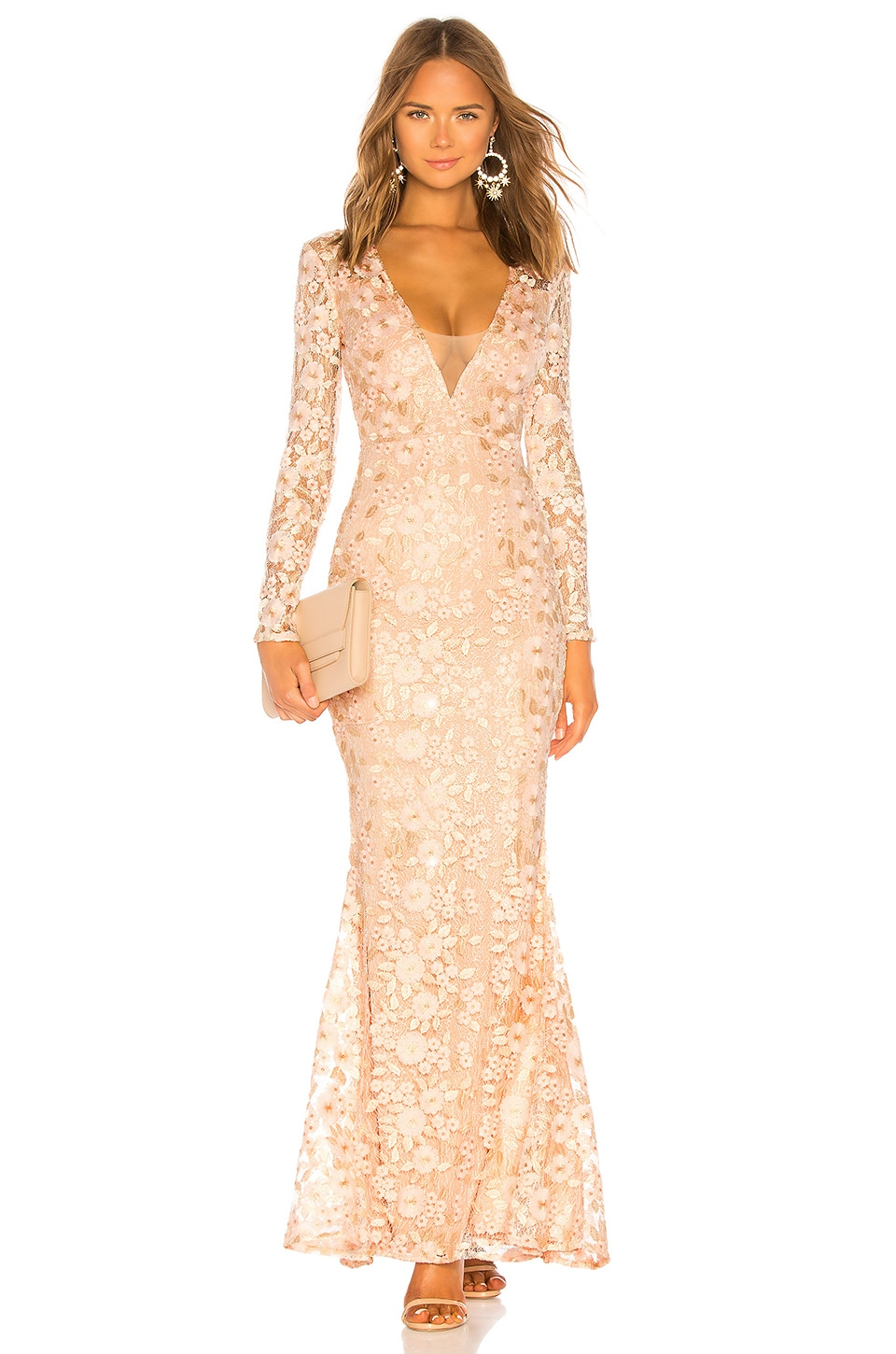 Michael Costello x REVOLVE Genner Gown in Light Pink Floral
