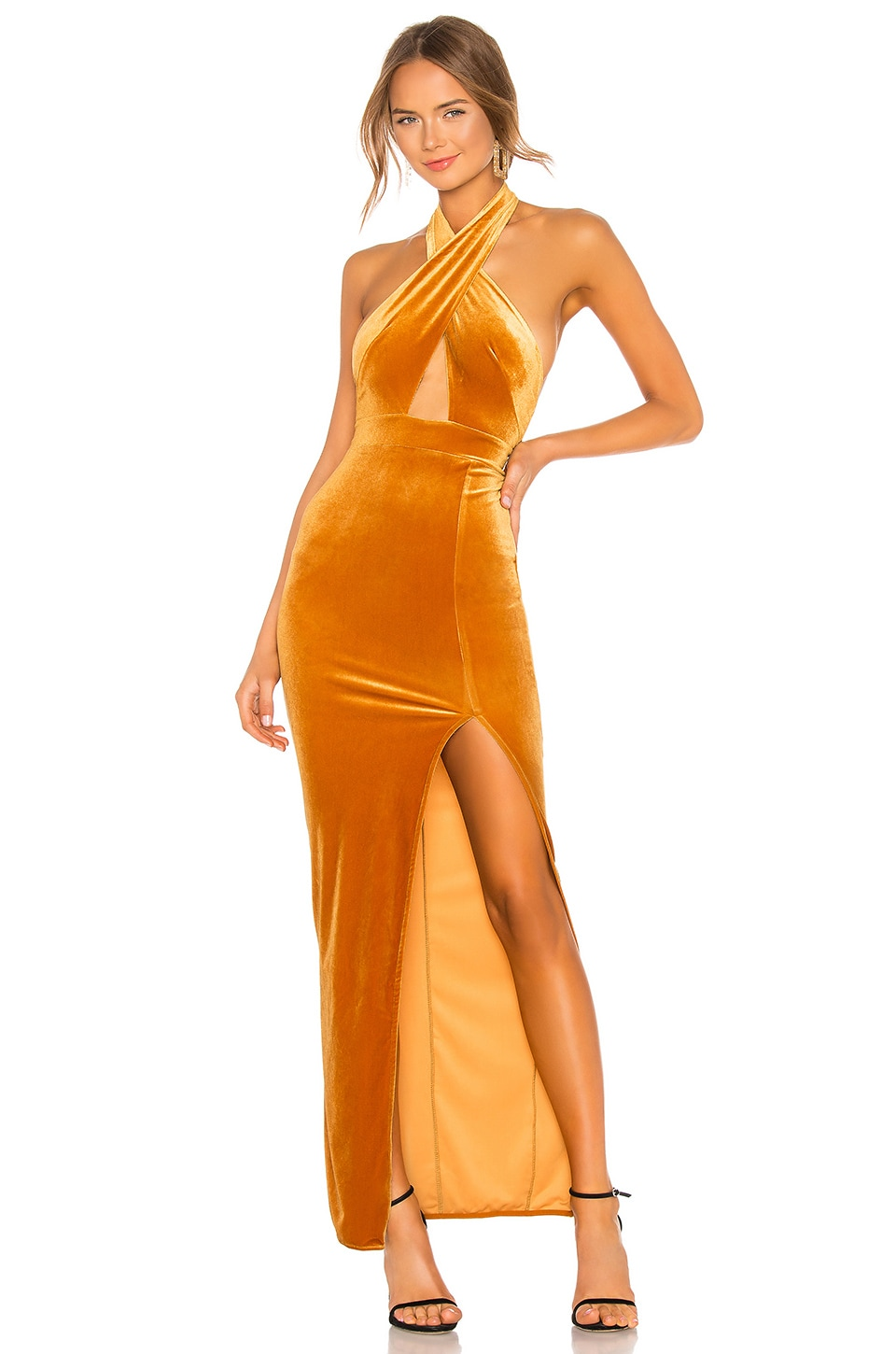 Michael Costello x REVOLVE Presley Gown in Mustard