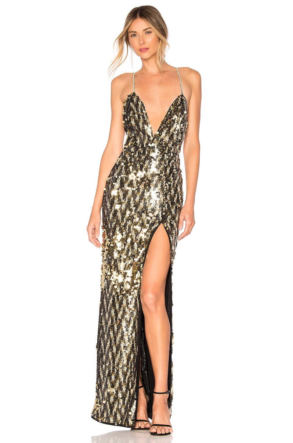 Michael Costello x REVOLVE Sydney Gown in Gold Star
