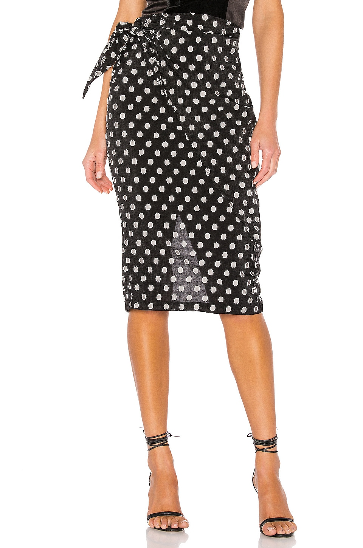 Michael Costello x REVOLVE Brionna Skirt in Black Dot