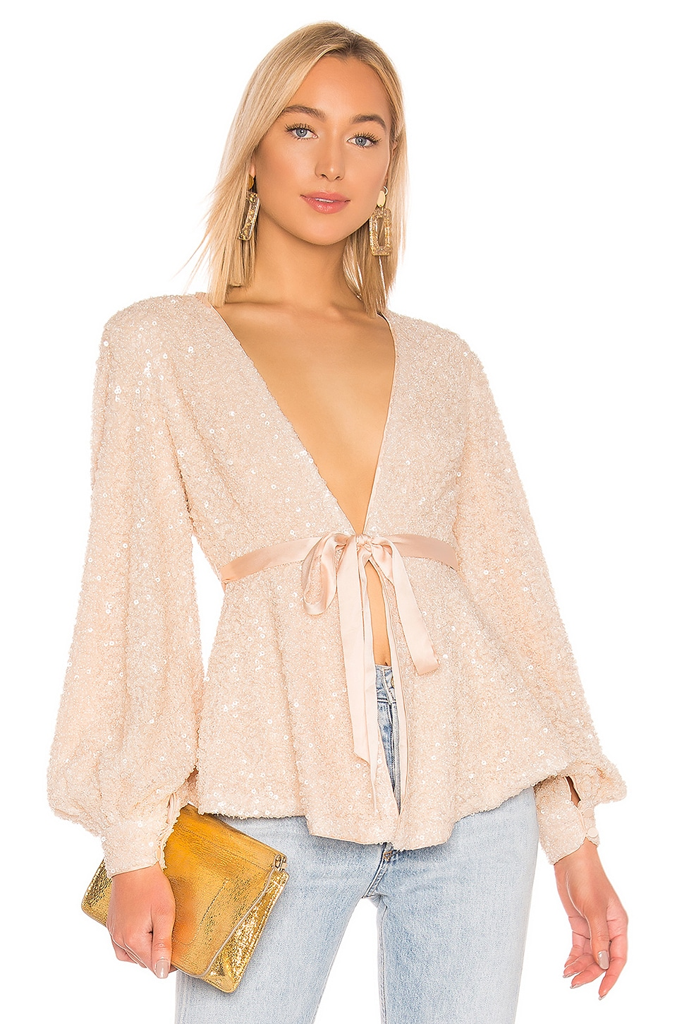 Michael Costello X REVOLVE Stella Blouse in Ivory