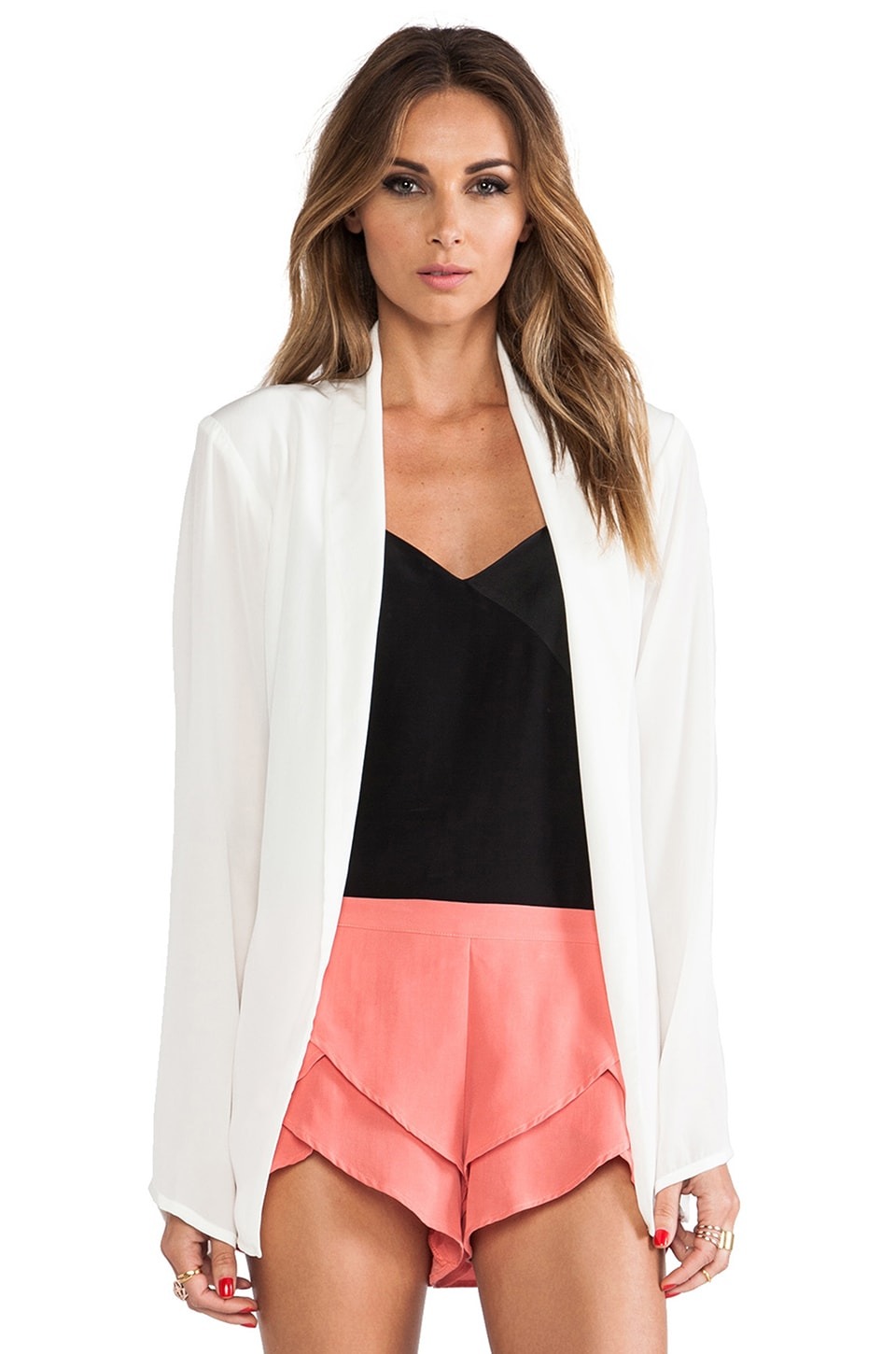 MERRITT CHARLES Ford Silk Blazer in White