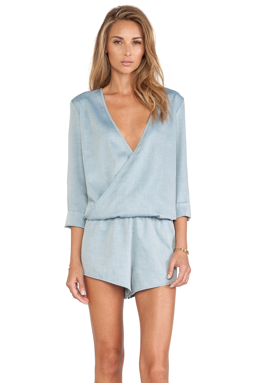 MERRITT CHARLES Fonda Long Sleeve Romper in Denim