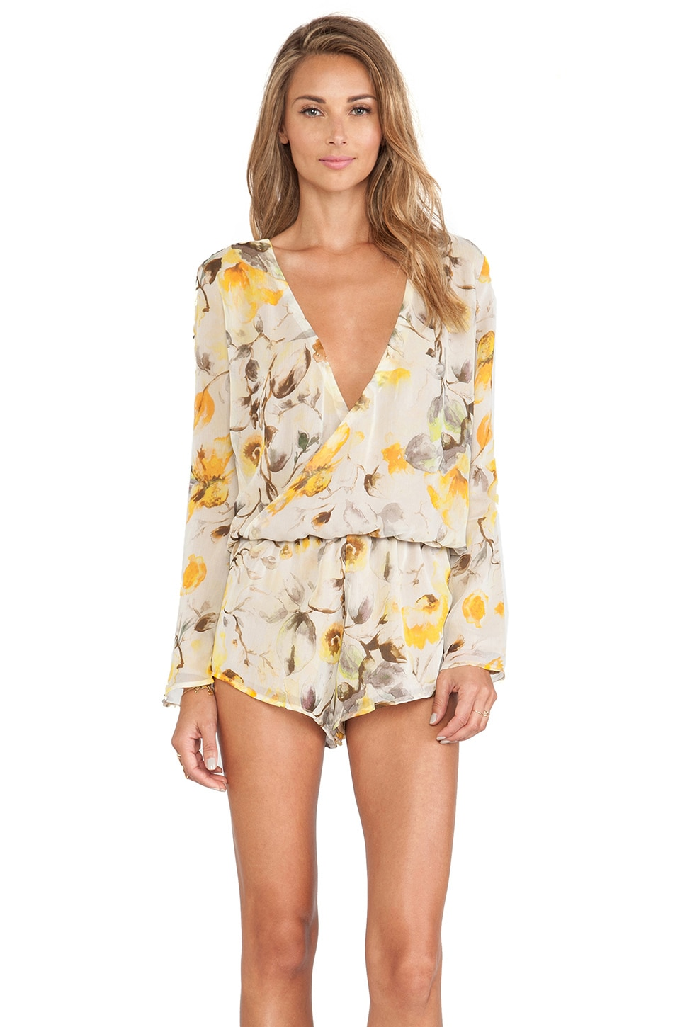 MERRITT CHARLES Kennedy Long Sleeve Romper in Yellow Floral Silk