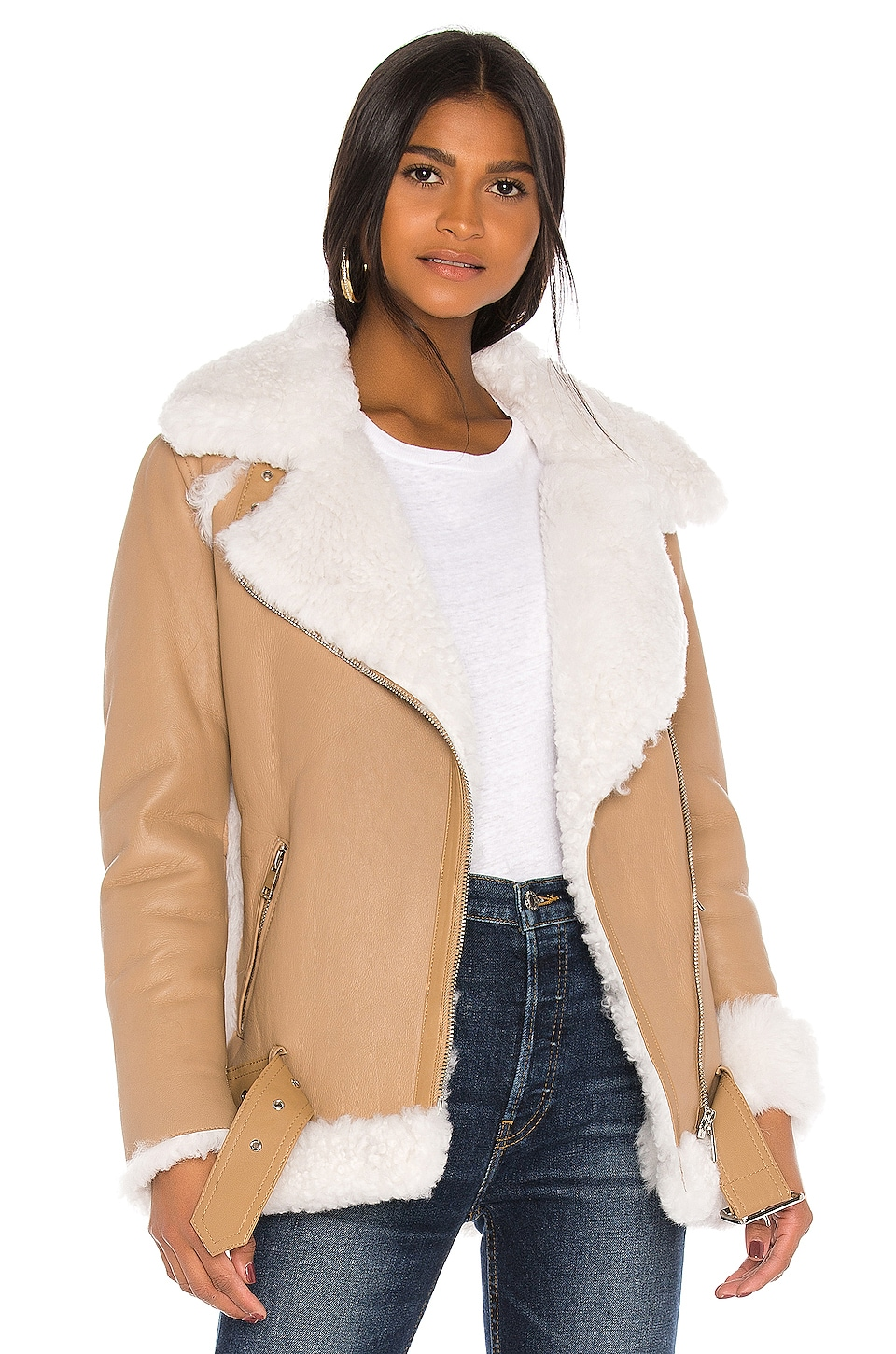 Yves Salomon - Meteo Lamb Hair Jacket in Ivoire & Beige