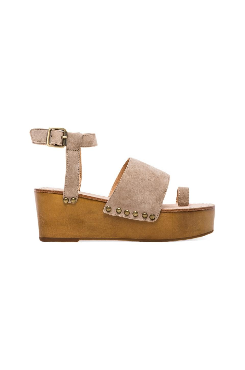 MADISON HARDING Holly Toe Strap Platform in Nude Kid Suede