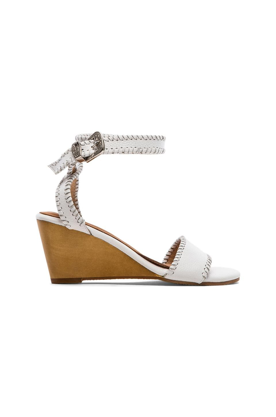 MADISON HARDING Dizzy Ankle Wedge in White Tumbled Leather