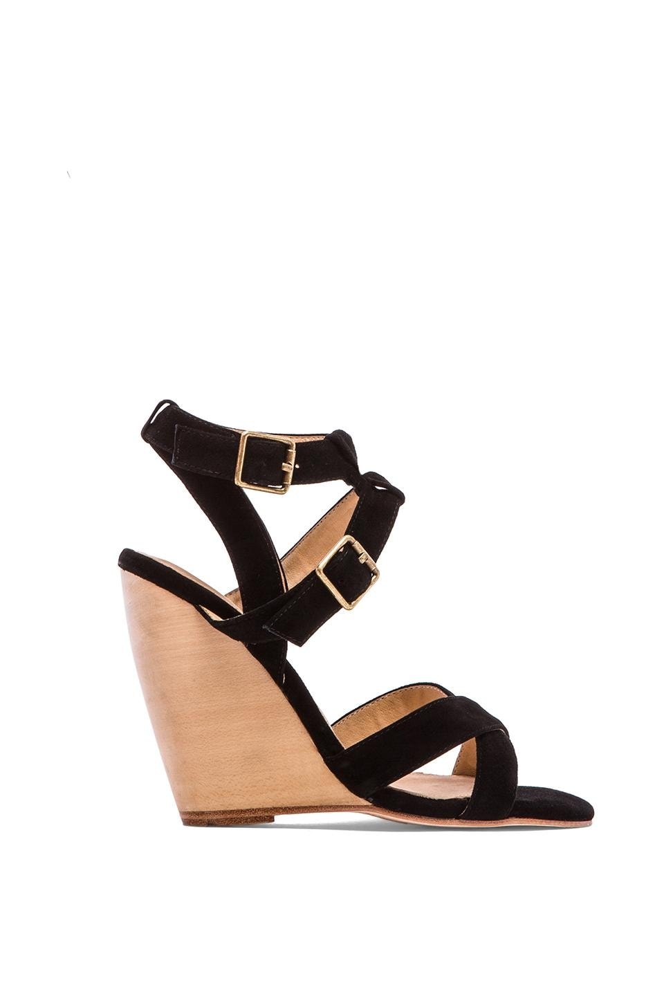 MADISON HARDING Kareen Cross Ankle Strap Wedge in Black Suede