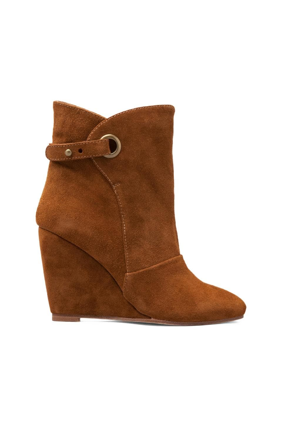 MADISON HARDING Susan Suede Wedge Strap Boot in Brown