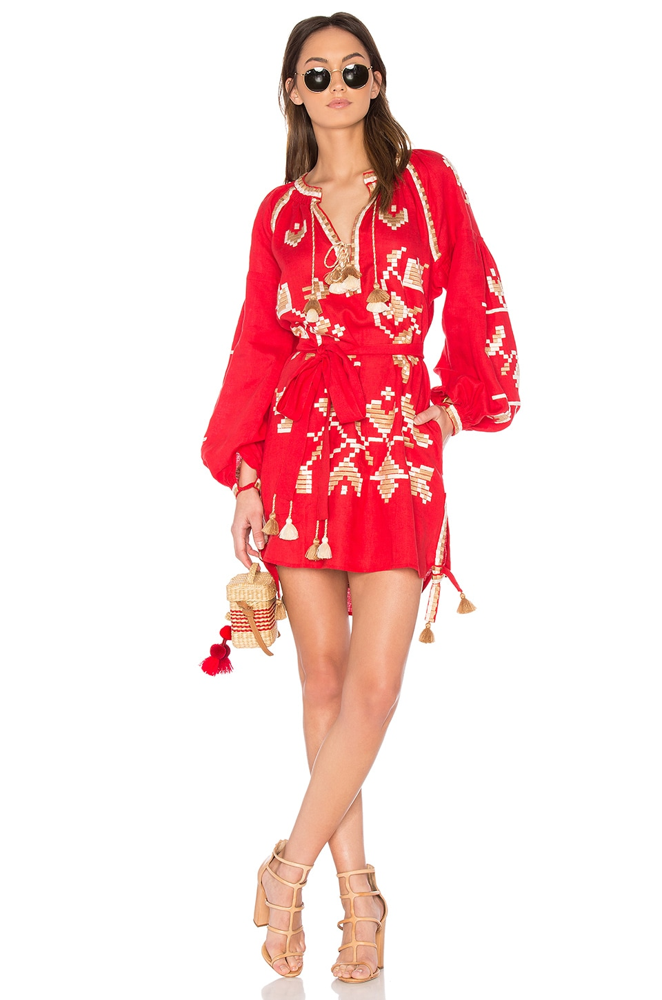 March 11 Long Sleeve Flora Embroidered Mini Dress in Red
