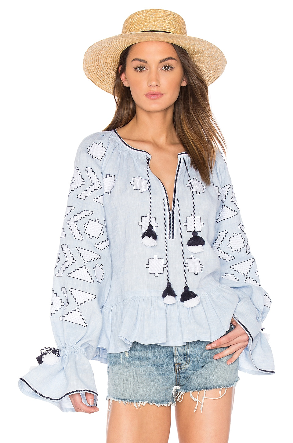 Long Sleeve Star Embroidered Blouse by 11-Mar