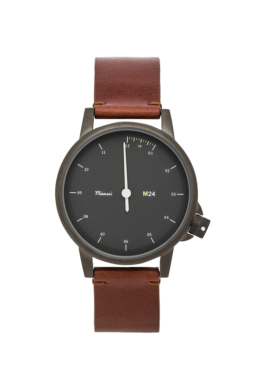 Miansai M24 Noir On All Leather Watch in Brown