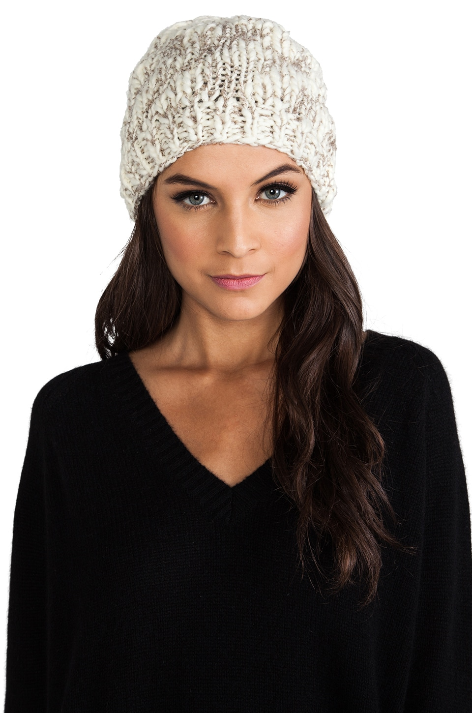 Michael Stars Hint of Sparkle Hand Knit Slouch Hat in Vanilla