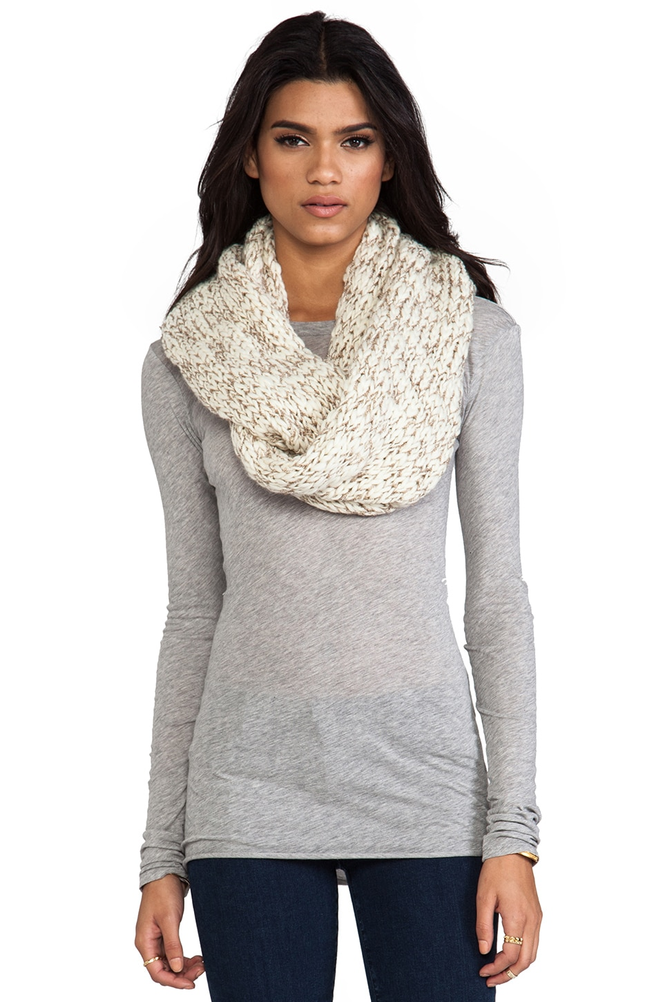 Michael Stars Hint of Sparkle Hand Knit Scarf in Vanilla