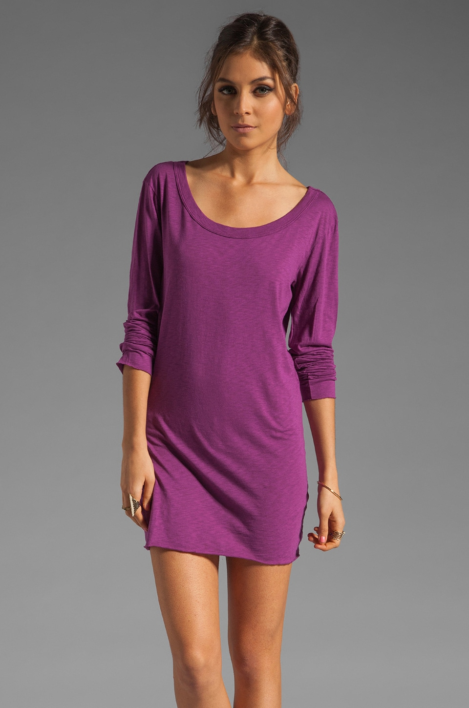 Michael Stars Long Sleeve Scoop Tunic in Huckleberry