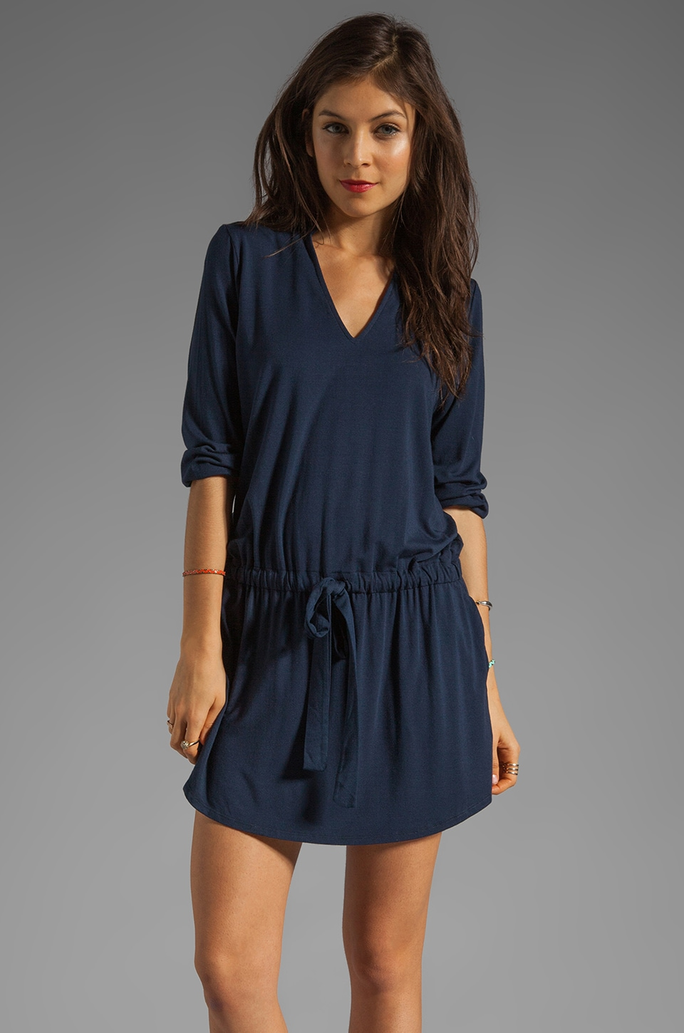 Michael Stars Justine 3/4 Sleeve Split Neck Drawstring Waist Dress in Night Sky