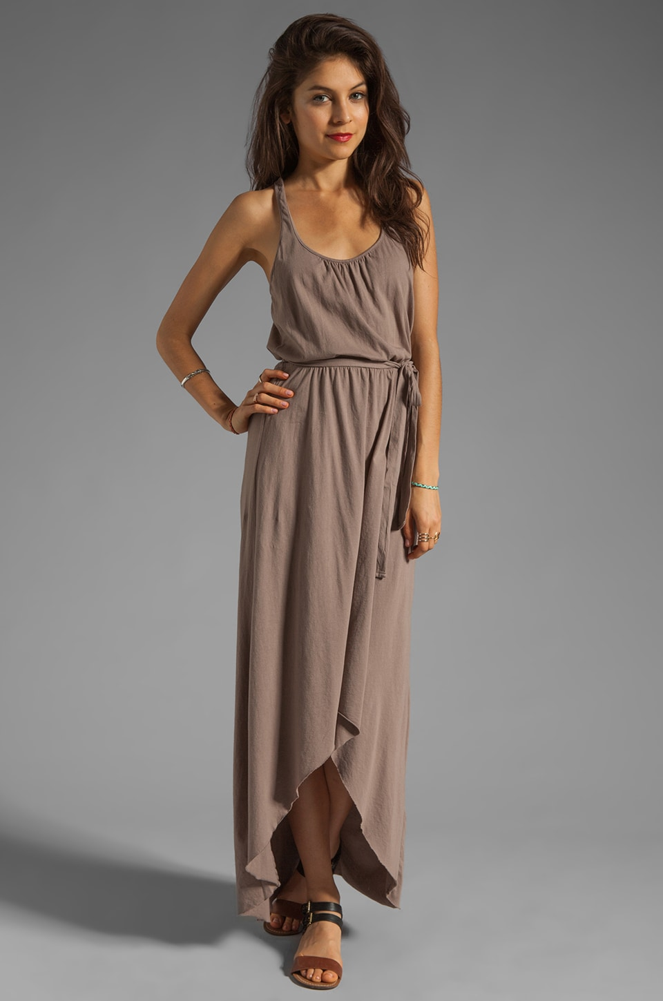 Michael Stars Sleeveless Scoop Neck Racerback Hi-Low Maxi in Cobblestone