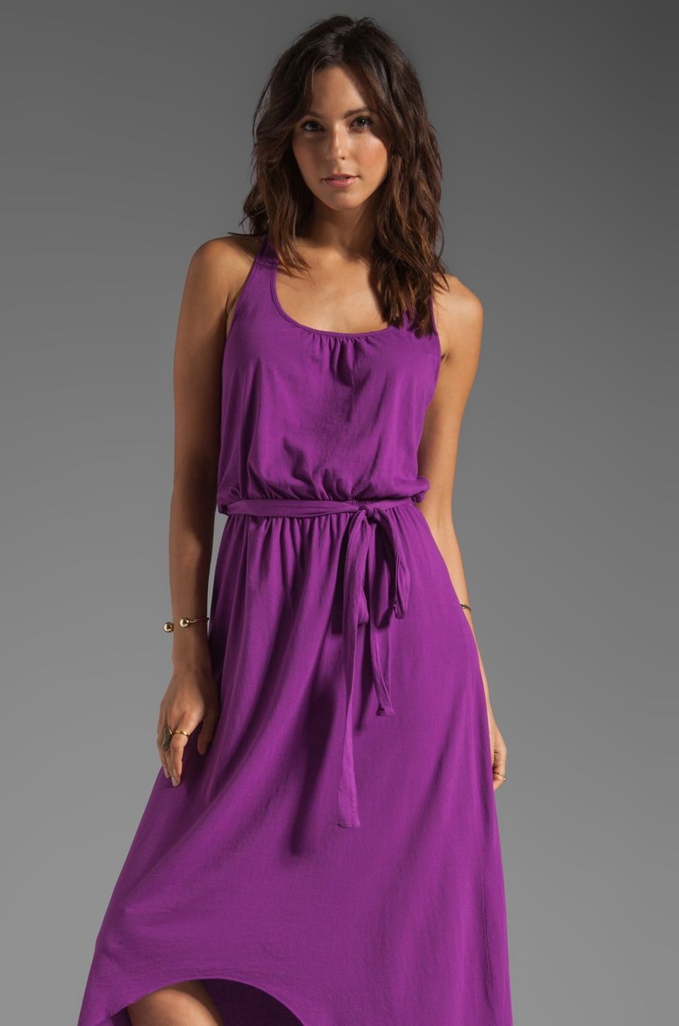 Michael Stars Sleeveless Scoop Neck Racerback Hi-Low Maxi in Heliotrope