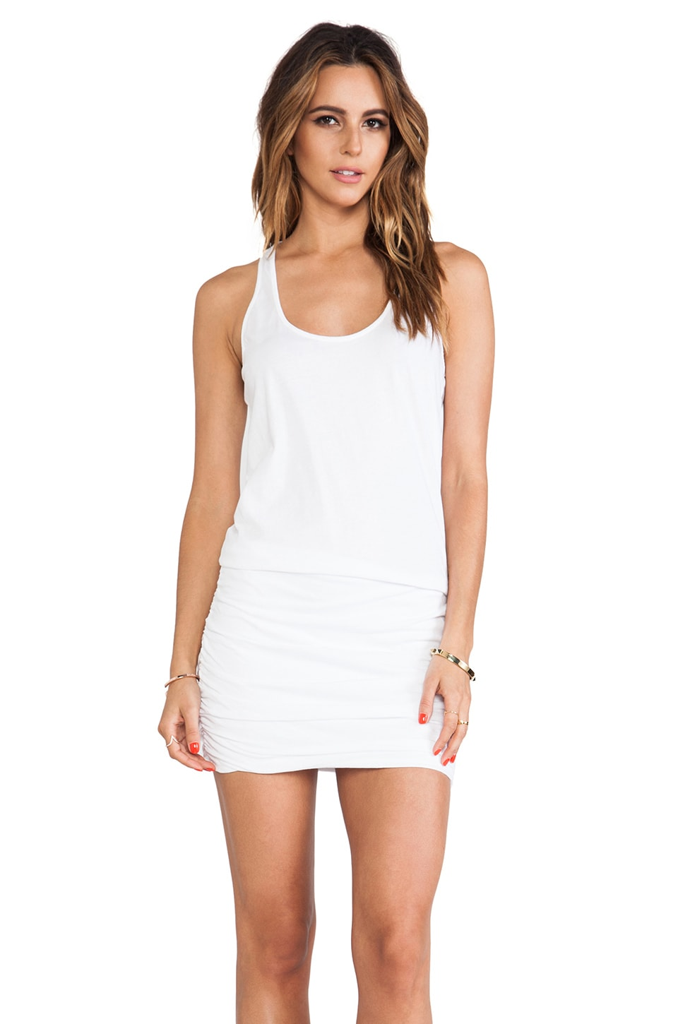 Michael Stars Jersey Knit Sleeveless Scoop Neck Racerback Shirred Dress in White