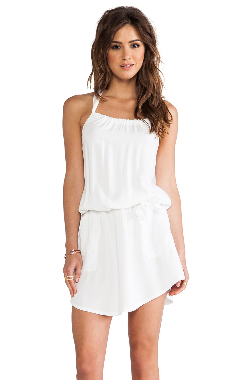 Michael Stars St. Barths Twill Clover Halter Blouson Waist Dress in White