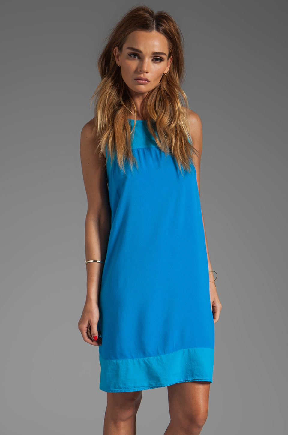 Michael Stars St. Barths Twill Simona Sleeveless Crew Neck A Line Dress in Cruise