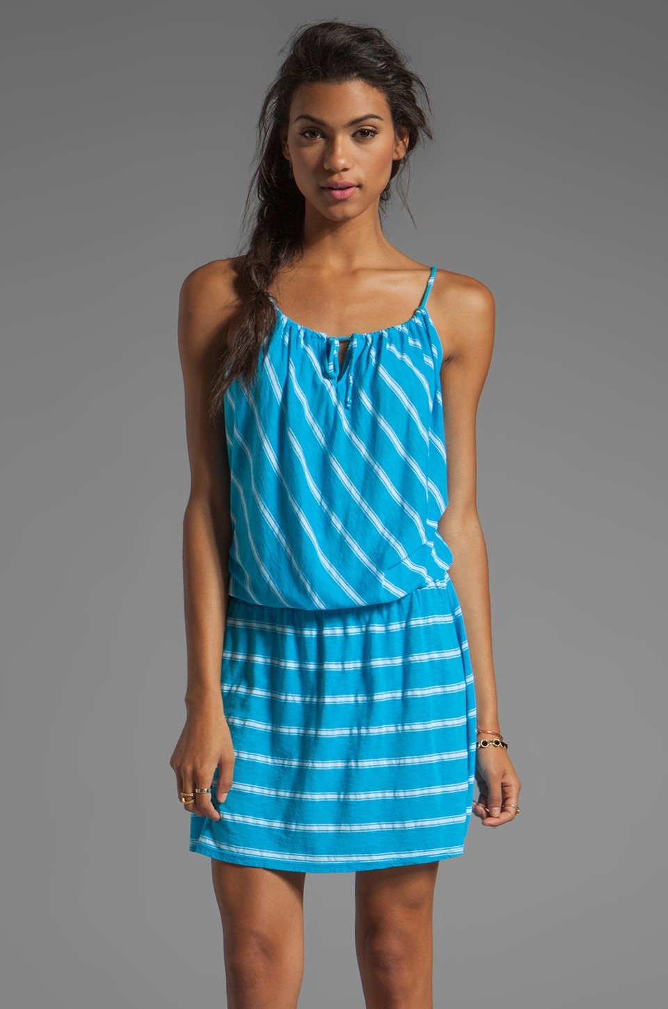 Michael Stars Hampton Stripe Split Neck Drop Waist Halter Dress in Atlantic