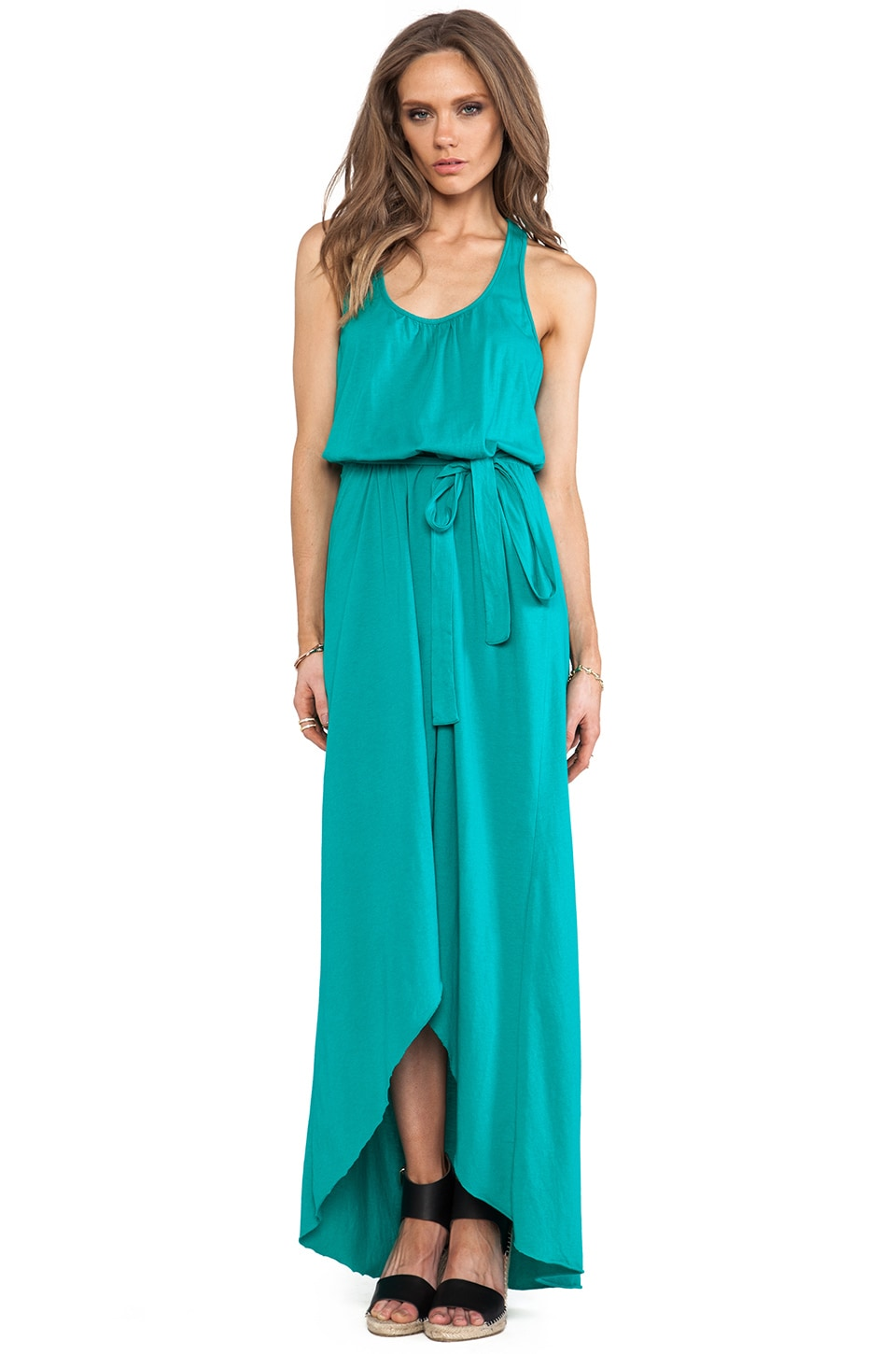 Michael Stars Sleeveless Scoop Neck Racerback Hi- Low Maxi in Beetle