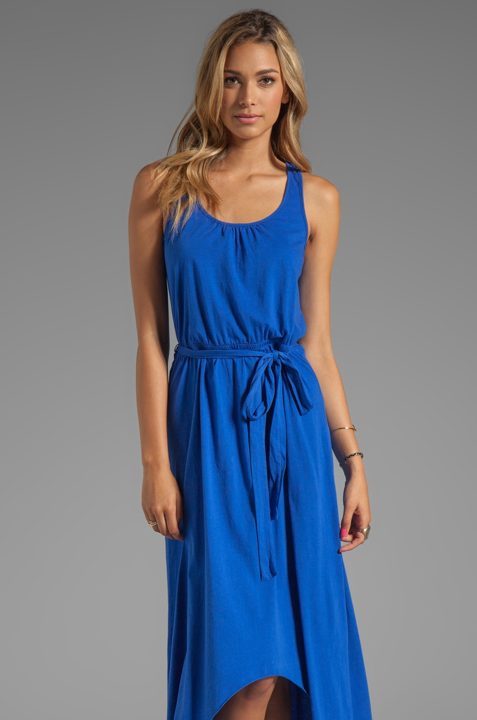 Michael Stars Jersey Knit Sleeveless Scoop Neck Racerback Hi-Lo Maxi Dress in Crest