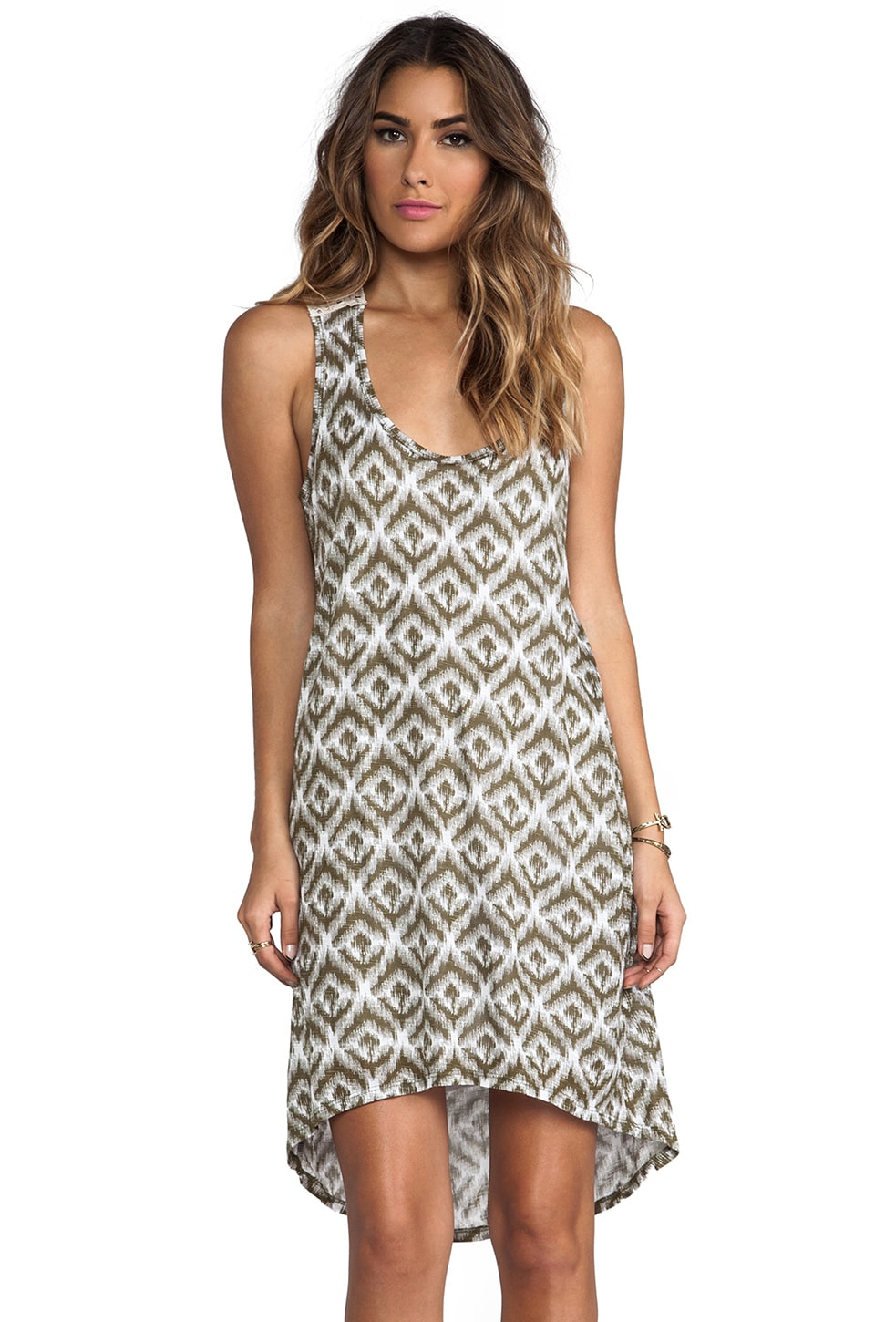 Michael Stars Ikat Print Crochet Back Hi-Low Dress in Vintage Ikat