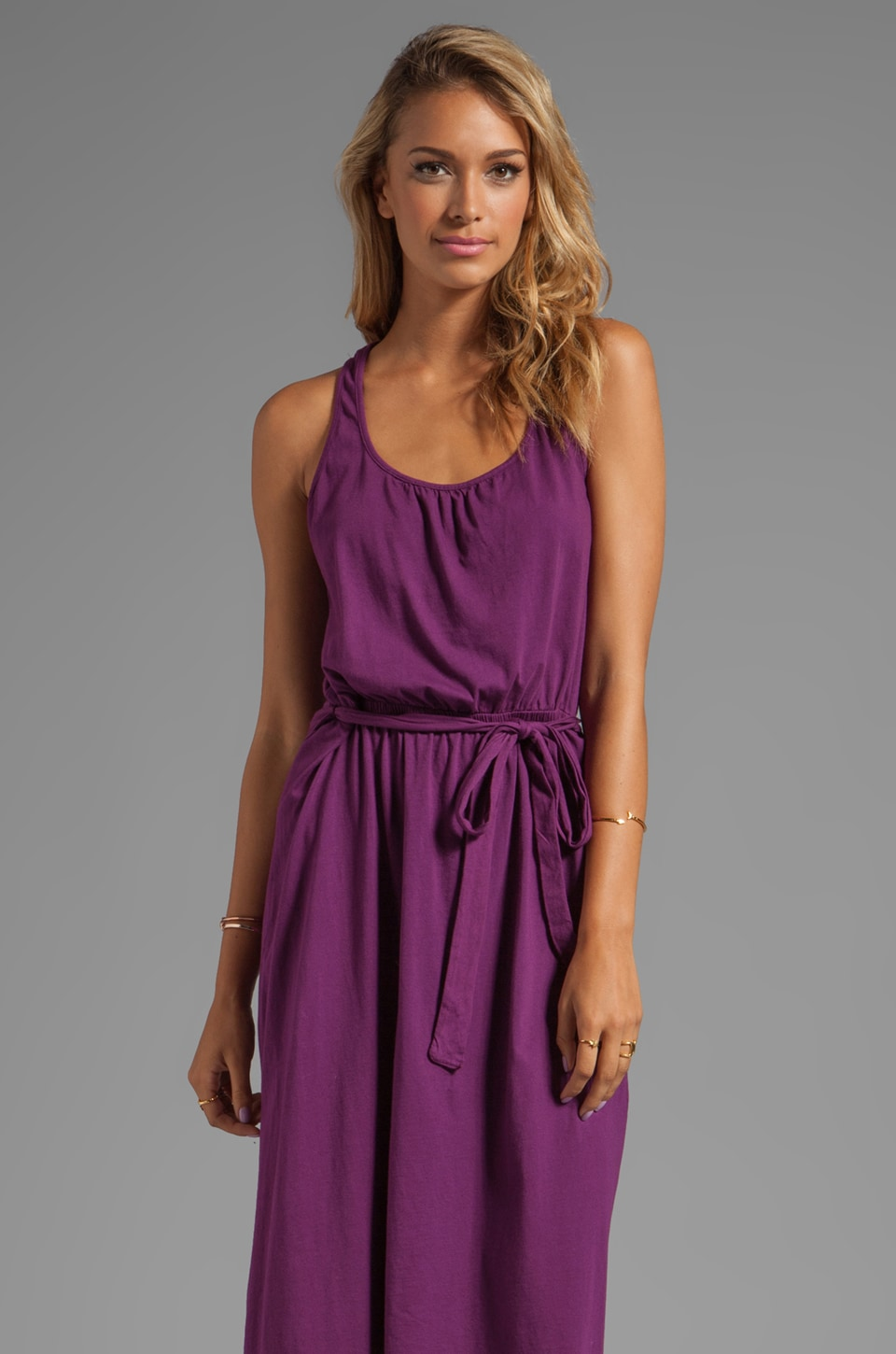 Michael Stars Jersey Knit Sleeveless Scoop Neck Racerback Hi-Lo Maxi Dress in Boysenberry