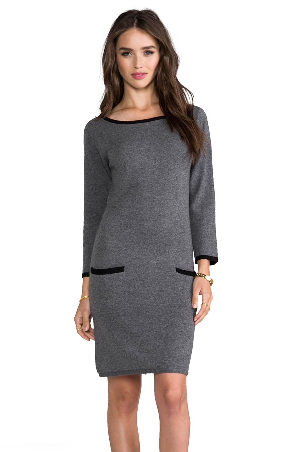 Michael Stars Wide Neck Sweater Dress in Derby Grey