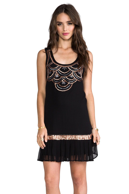 Michael Stars Drop Waist Embellished Dress in Black