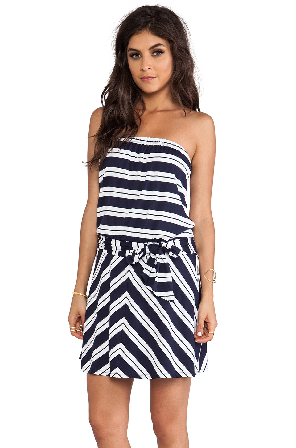 Michael Stars Suzette Strapless Tie Waist Dress in Navy & White