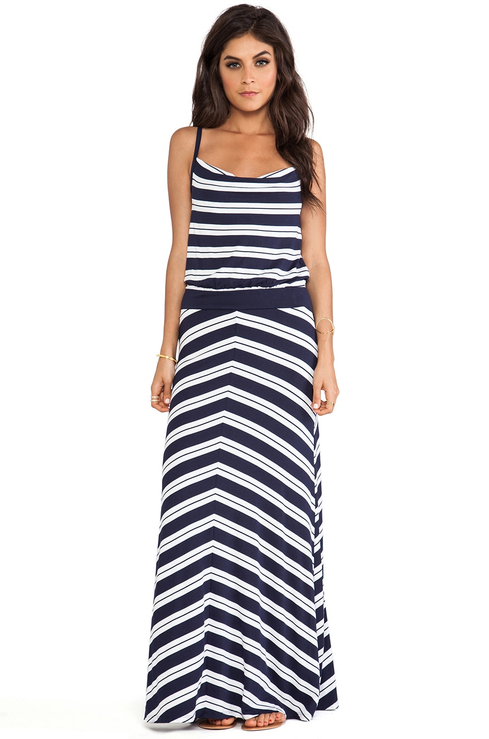 Michael Stars Hope Sleeveless Maxi Dress in Navy & White