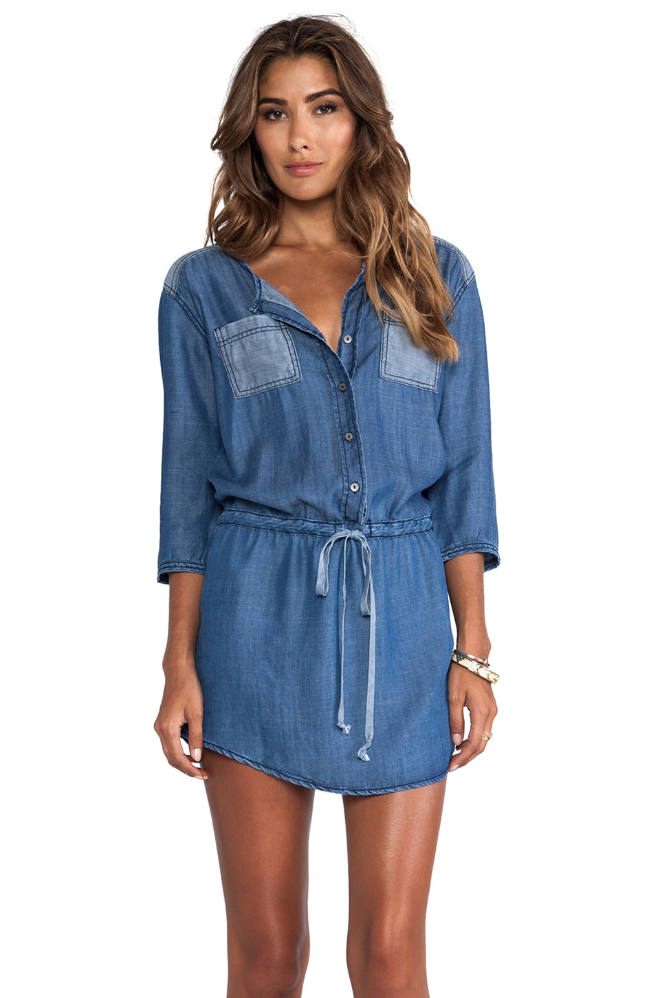 Michael Stars 3/4 Sleeve Button Down Shirt Dress in Denim
