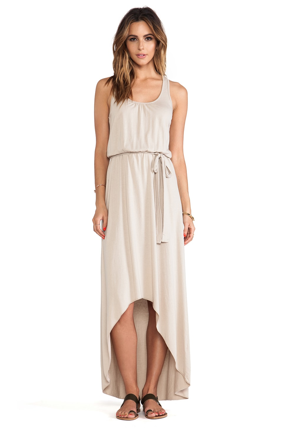 Michael Stars Seamless Scoop Neck Racerback High Low Maxi Dress in Bamboo