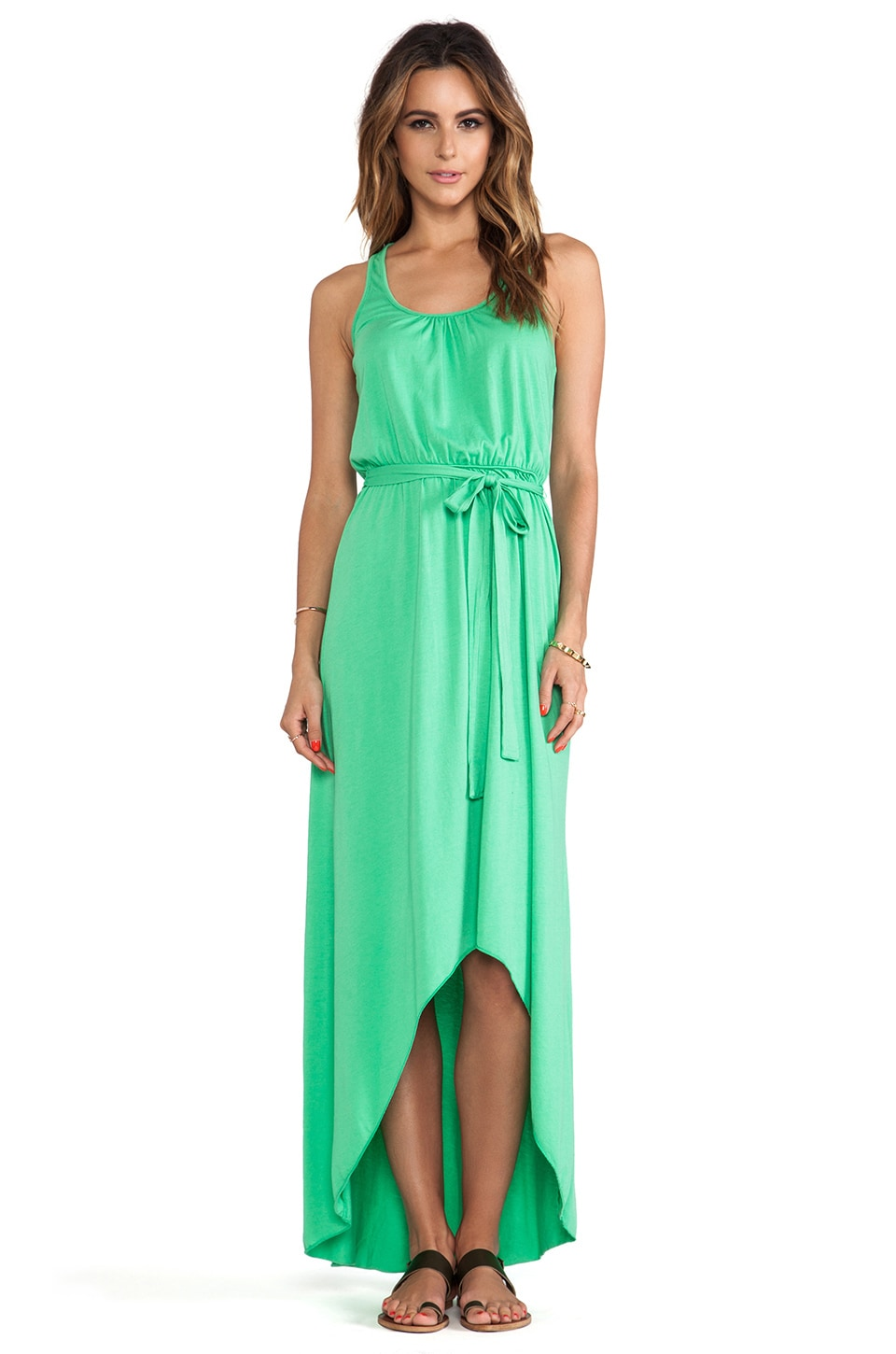 Michael Stars Seamless Scoop Neck Racer Back High Low Maxi Dress in Honeydew