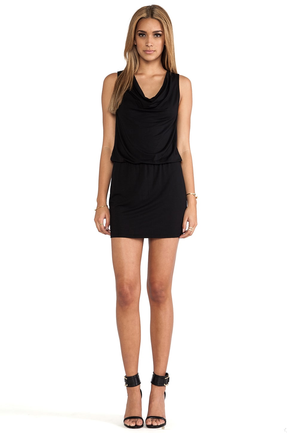 Michael Stars Katie Sleeveless Drape Neck Dress in Black