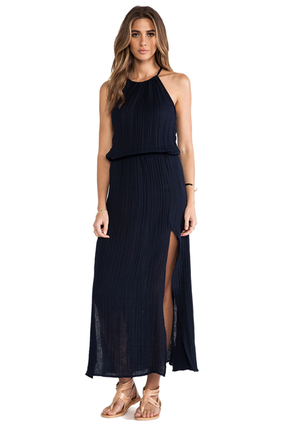 Michael Stars Double Slit Halter Dress in Ship