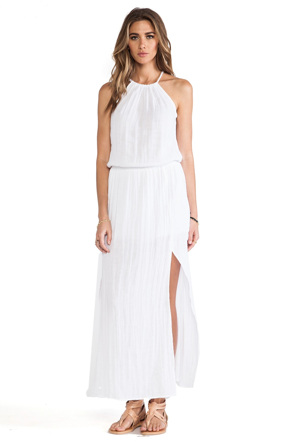 Michael Stars Double Slit Halter Dress in White